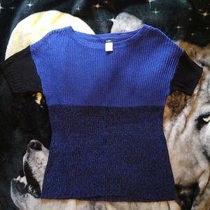 J. Crew Linen Open Knit Colorblock Top